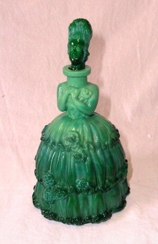 10: Green Slag Glass Perfume Bottle