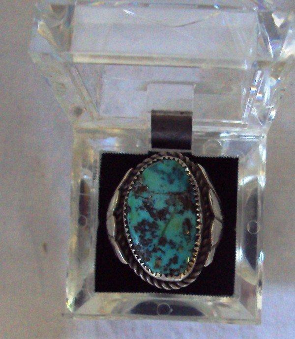 17: Vintage Navajo Turquoise Sterling Men's Ring