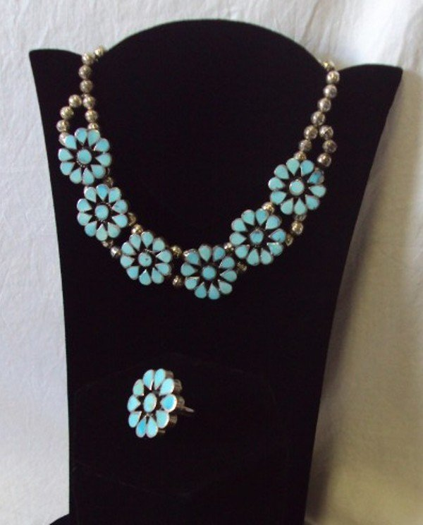 18: Vintage Navajo Turquoise Sterling Necklace & Ring