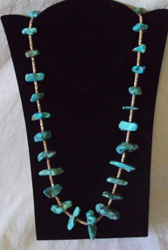 """19: Vintage Navajo 30"""" Chunky Turquoise  Necklace"""
