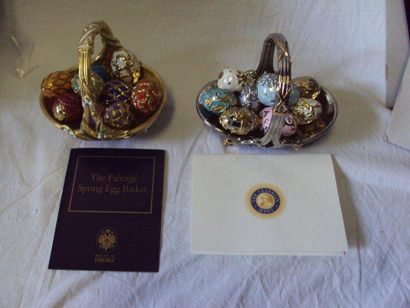 105: (2) Faberge Egg Baskets - Spring & Winter