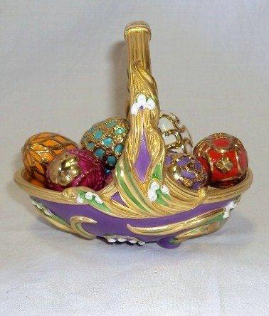 105: (2) Faberge Egg Baskets - Spring & Winter - 3