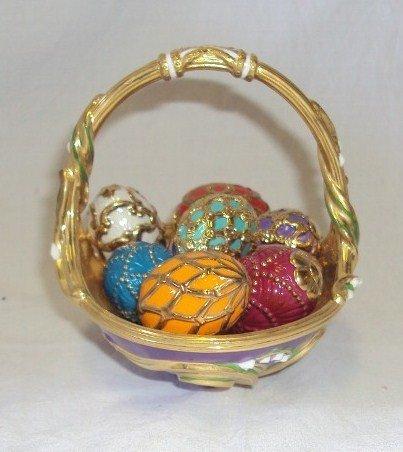 105: (2) Faberge Egg Baskets - Spring & Winter - 4