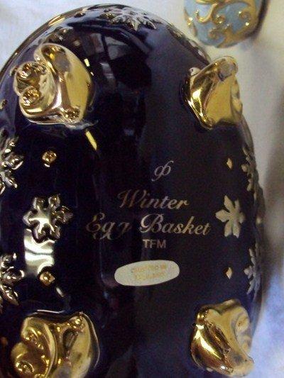 105: (2) Faberge Egg Baskets - Spring & Winter - 9