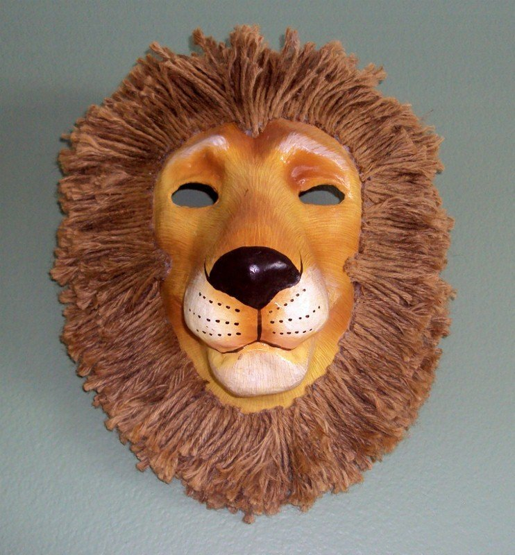 185: 5 Paper Mache Animal Masks * Lion Tiger Cat Mouse