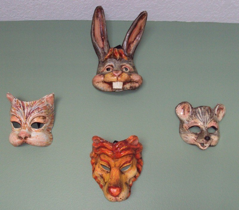 185: 5 Paper Mache Animal Masks * Lion Tiger Cat Mouse - 2