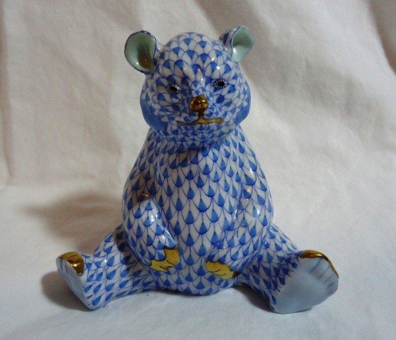 1: Blue Fishnet Herend Bear