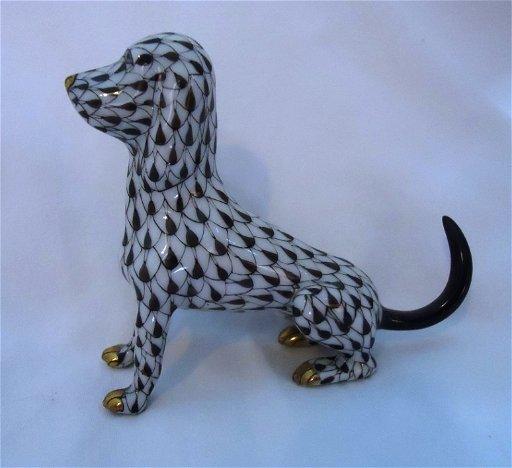 3: Black Fishnet Herend Hound Dog