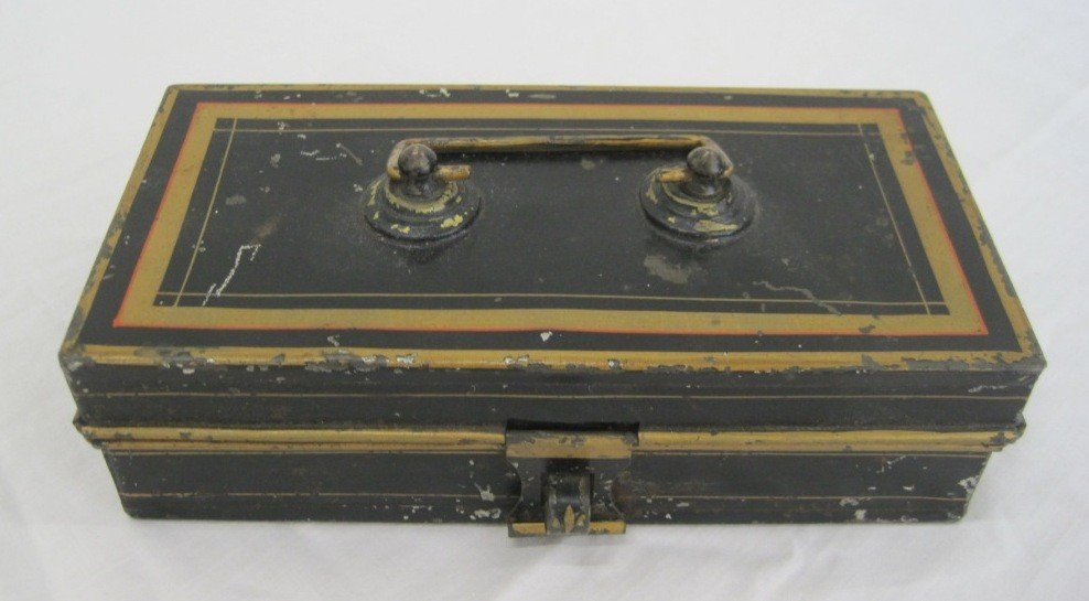 2: Antique Metal Cash Box