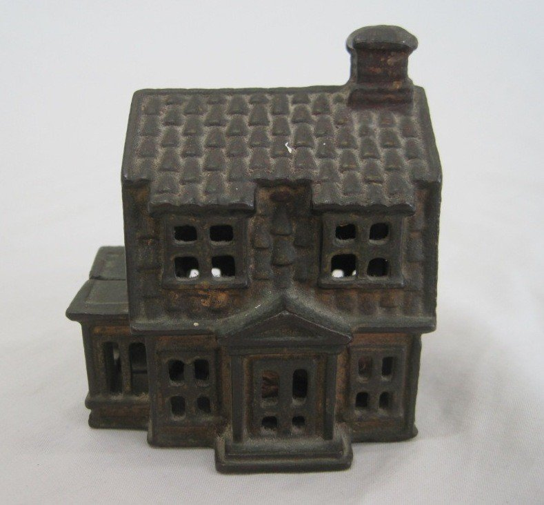 4: A.C. Williams Colonial House Cast Iron Still Bank
