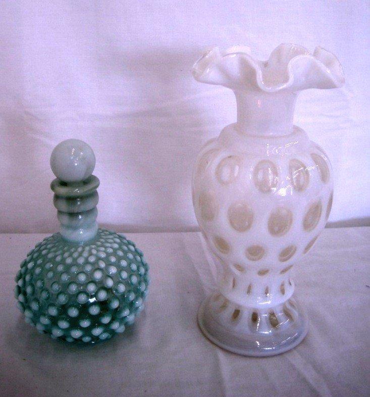 9: Fenton Coin Dot Vase & Hobnail Perfume Bottle