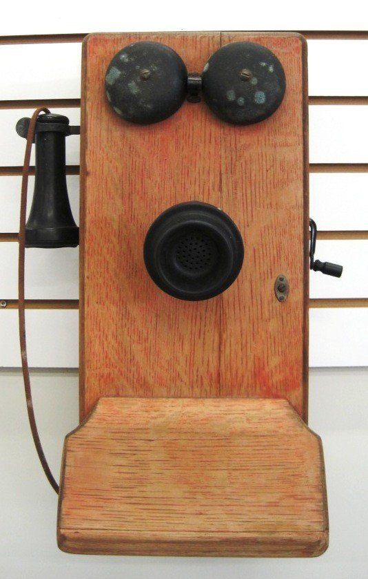 13: Antique Wall Mount Hand Crank Phone
