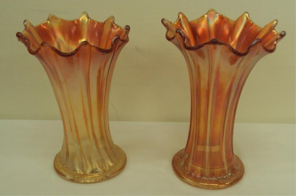 103: PAIR NORTHWOOD CARNIVAL GLASS VASES