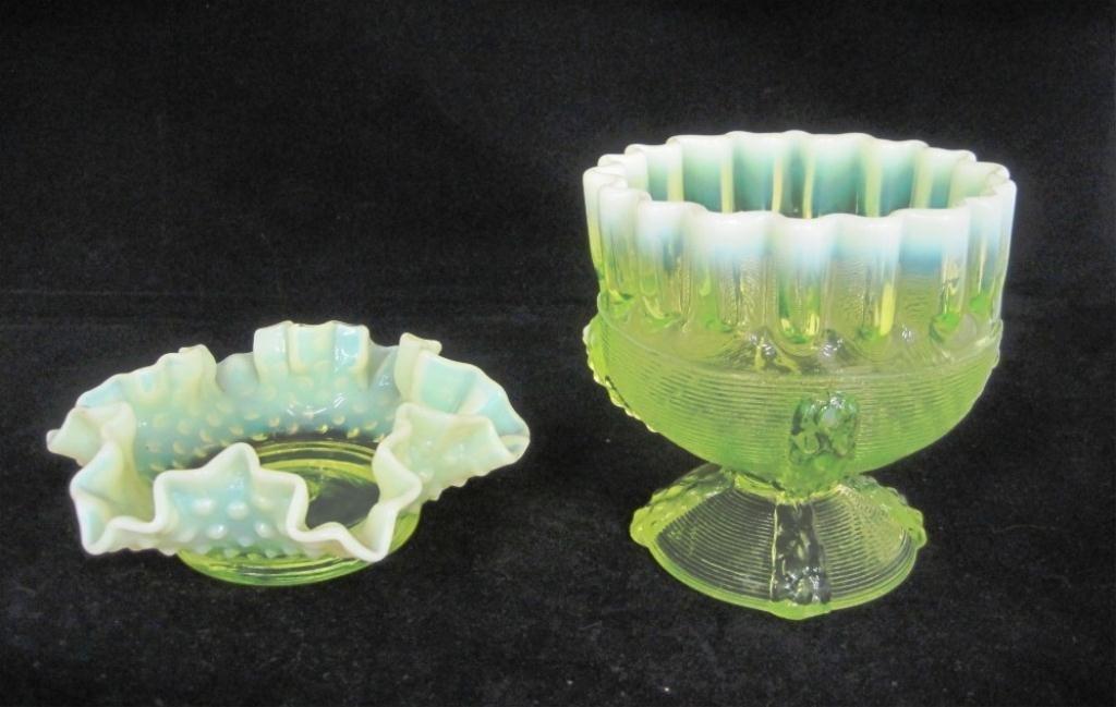 104: (2) VASELINE GLASS