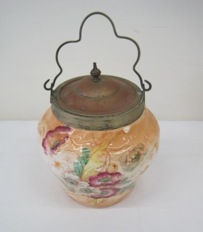 106: S.F. & CO. STOKE ON TRENT LIDDED BISCUIT JAR