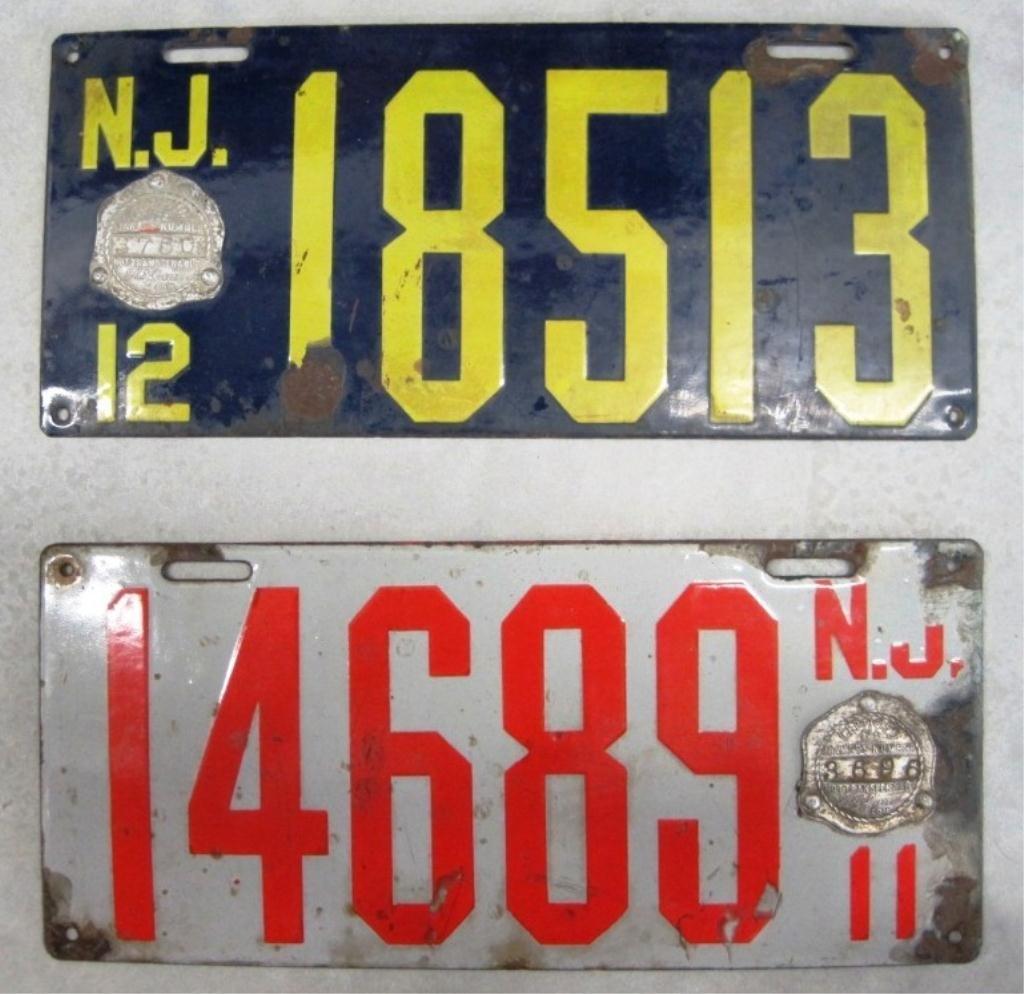10: 1911 & 1912 NEW JERSEY PORCELAIN LICENSE PLATES