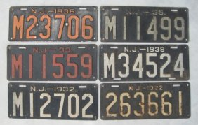 (6) ANTIQUE NEW JERSEY LICENSE PLATES