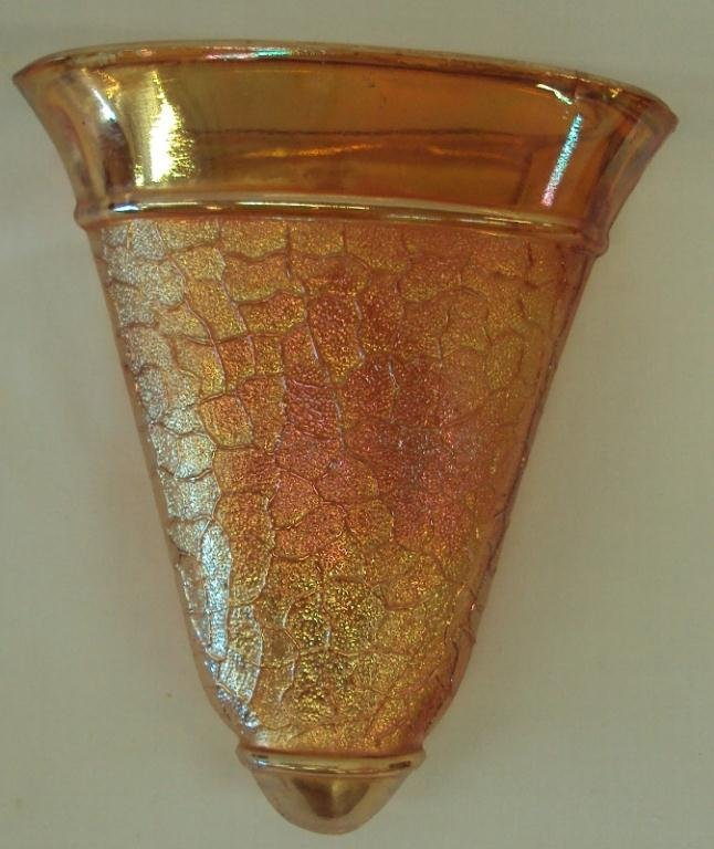 96: AUSTRIAN CARNIVAL GLASS WALL POCKET VASE