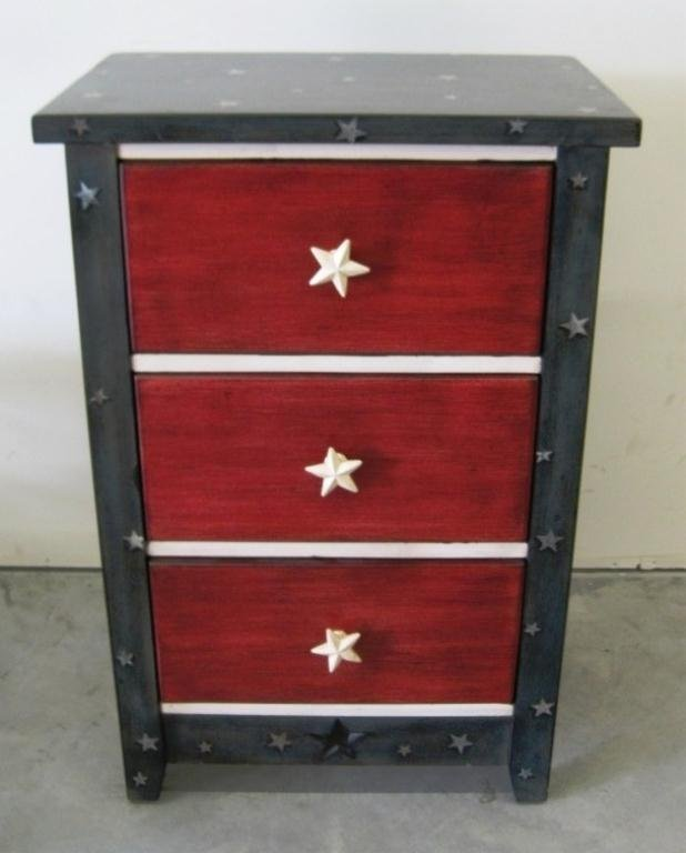 102: RED WHITE & BLUE 3 DRAWER NIGHT STAND