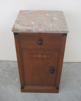 18: SMALL MARBLE TOP DECO CABINET