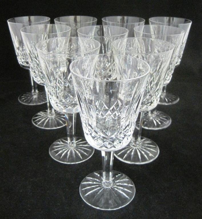 (10) WATERFORD CRYSTAL LARGE WINE GOBLETS