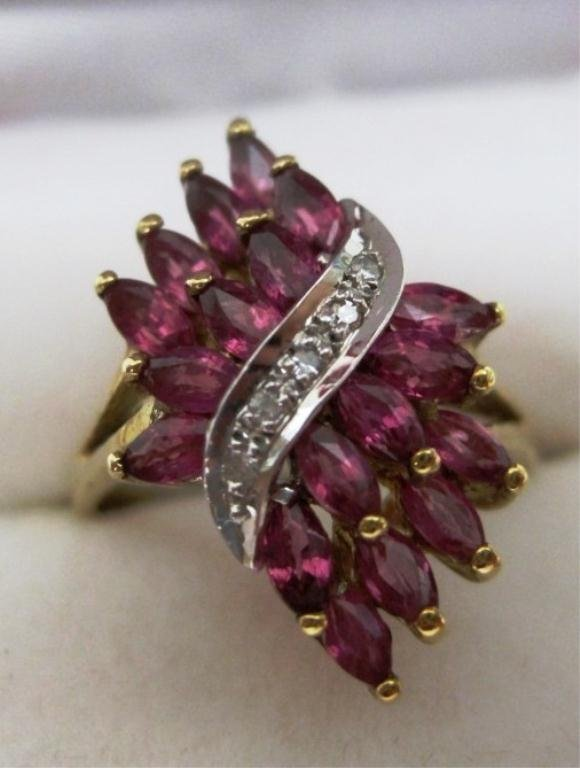 10K PINK SAPPHIRE & DIAMOND RING