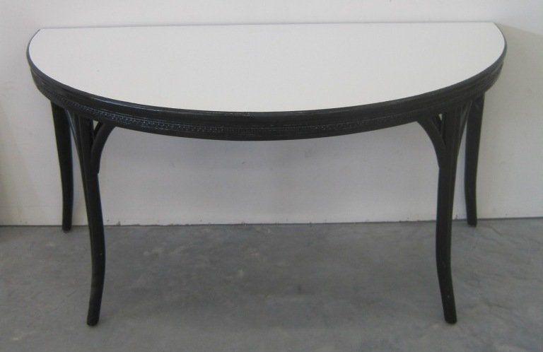 RATTAN HALF MOON TABLE