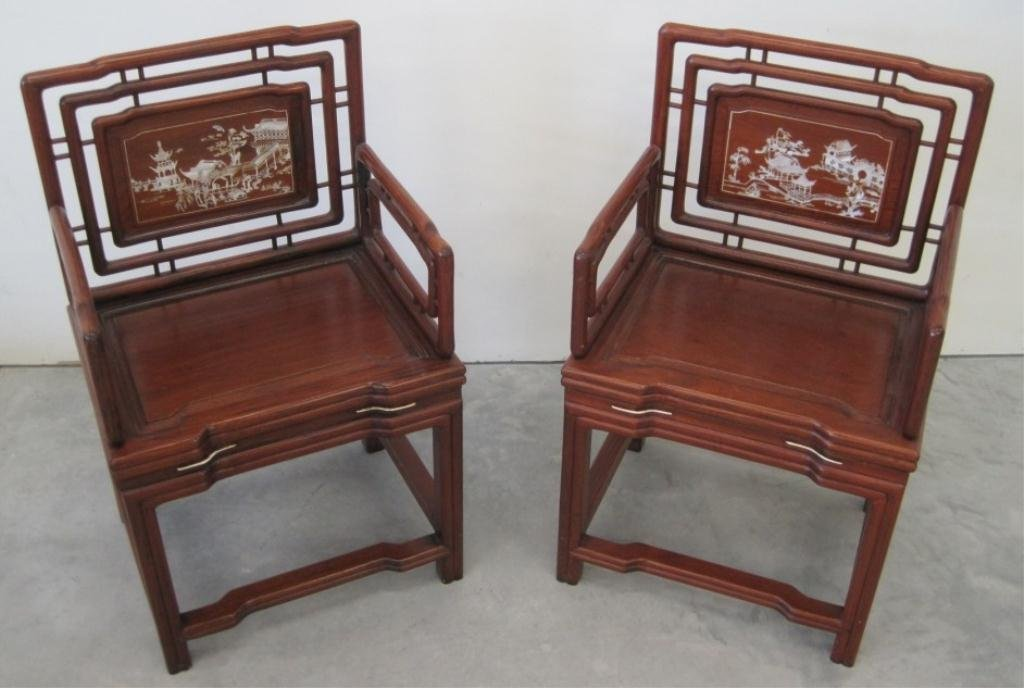 PAIR MOTHER OF PEARL INLAID ASIAN CHAIRS