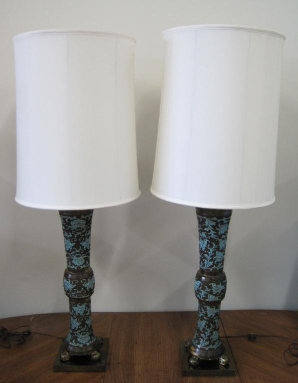 PAIR BRASS AND ENAMEL CHAMPLEVE MID CENTURY LAMPS