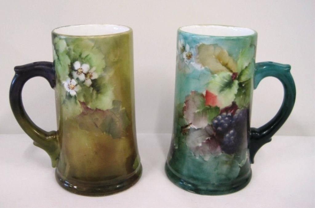 PAIR HAND PAINTED LITHOPHANE STEINS