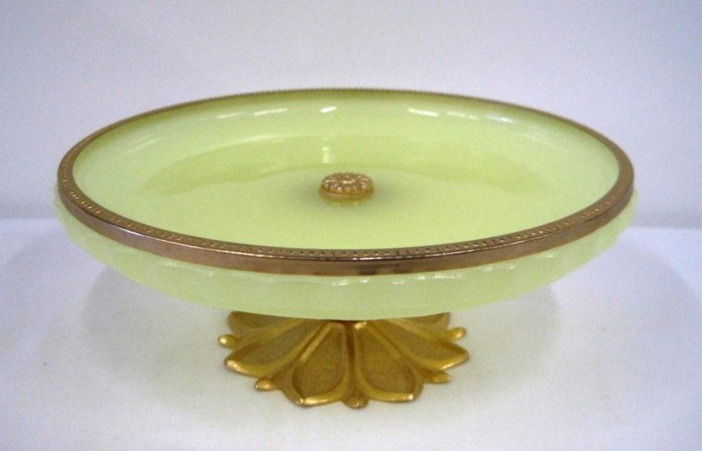 FRENCH OPALINE GLASS COMPOTE