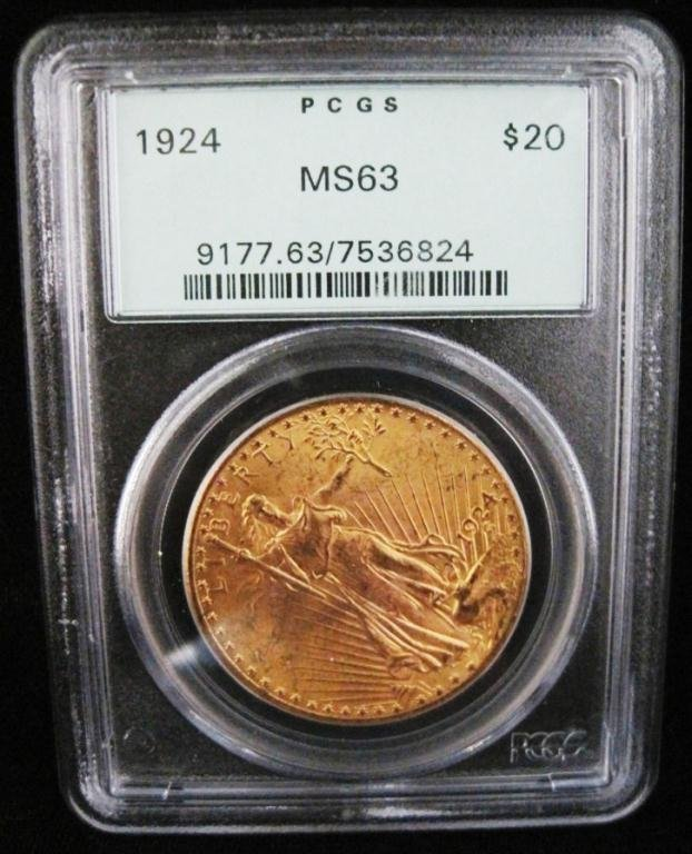 1924 MS63 GOLD SAINT GAUDENS $20 COIN