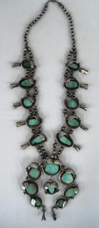 NAVAJO STERLING & TURQUOISE SQUASH NECKLACE