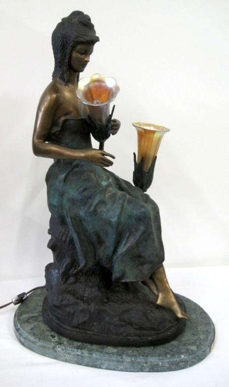 A. MOREAU SITTING PRETTY BRONZE LAMP