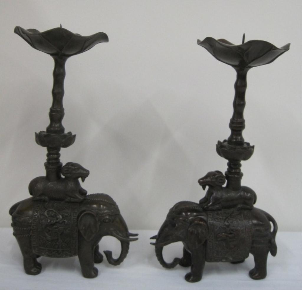 BRONZE ELEPHANT CANDLE HOLDERS