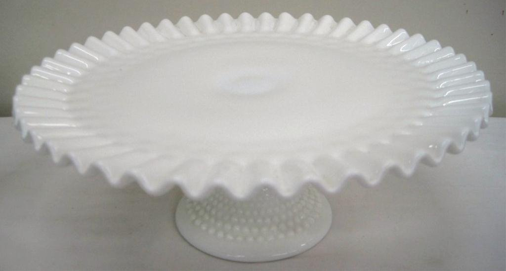 FENTON MILK GLASS RUFFLED HOBNAIL CAKE PLATE STAND