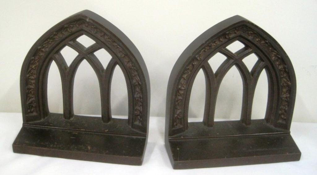 BRADLEY & HUBBARD GOTHIC CATHEDRAL BOOKENDS