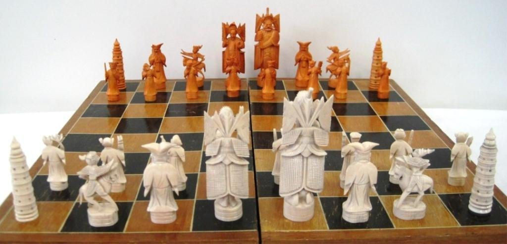 CHINESE CARVED IVORY CHESS SET