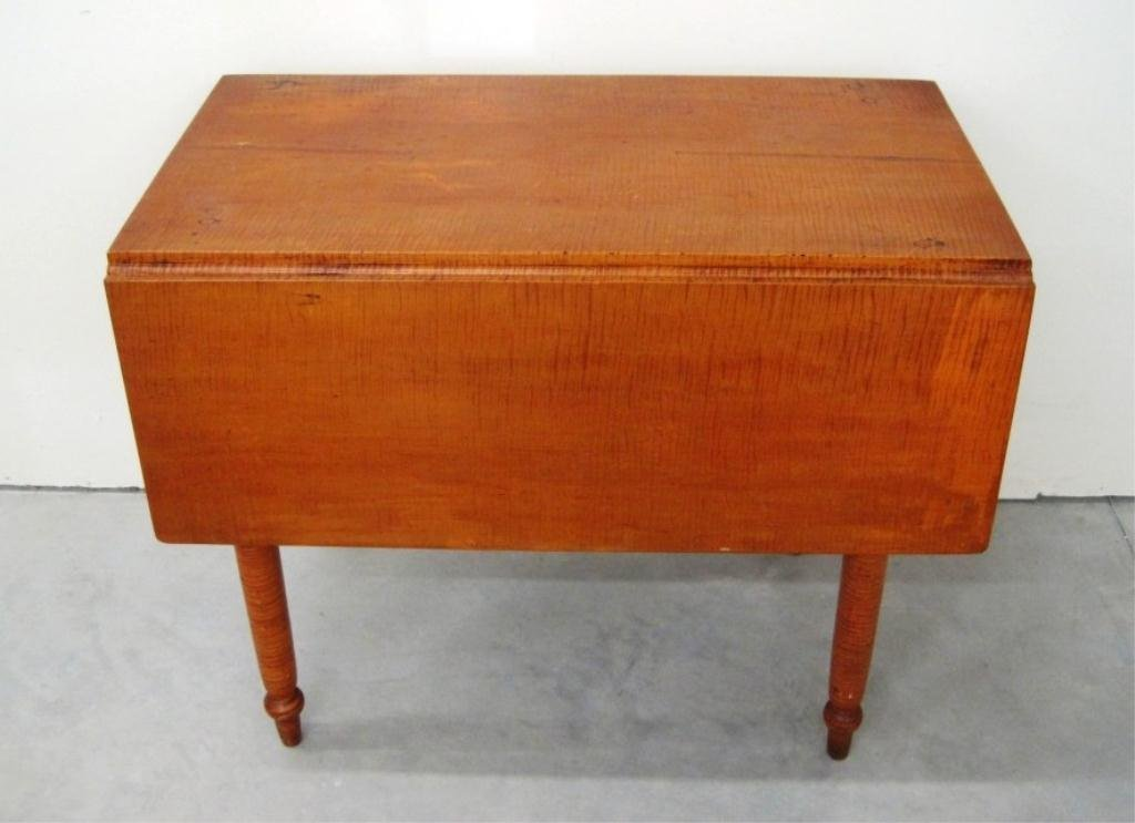 19TH CENTURY  TIGER MAPLE DROP LEAF TABLE
