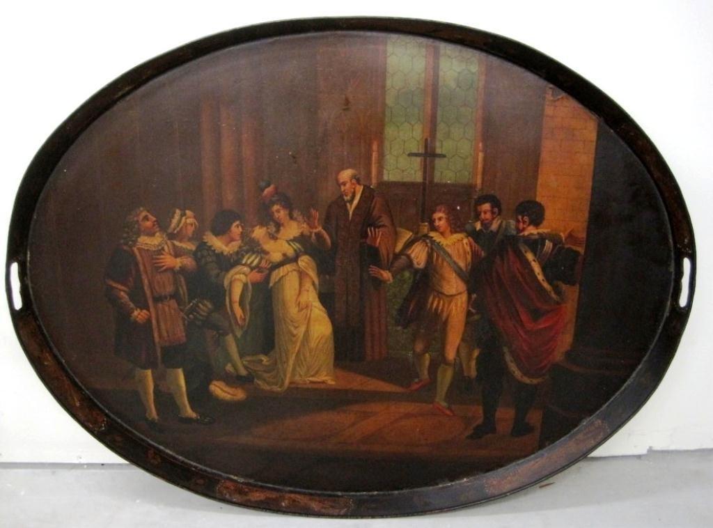 19TH CENTURY TOLEWARE RELIGIOUS SCENE TRAY TABLE