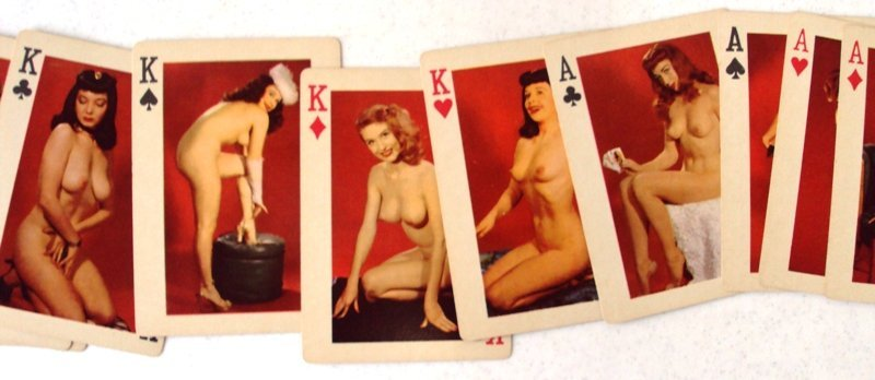 VINTAGE NUDE PIN UP GIRLS PLAYING CARDS - 4