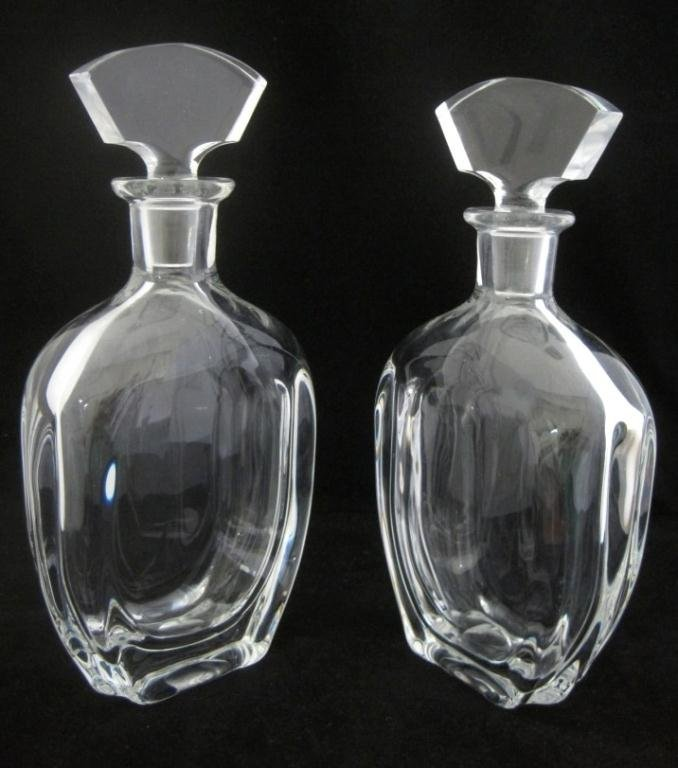 PAIR OF SIGNED CRYSTAL DECANTERS