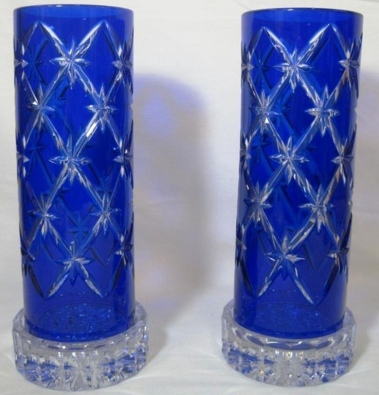 BOHEMIAN CUT TO CLEAR CANDLEHOLDERS