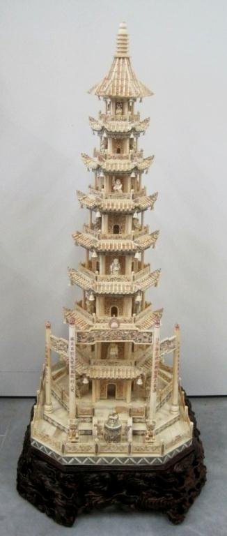 LARGE CHINESE CARVED BONE PAGODA TOWER