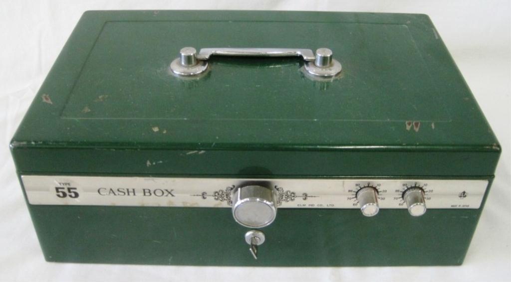 VINTAGE ELM CASH BOX