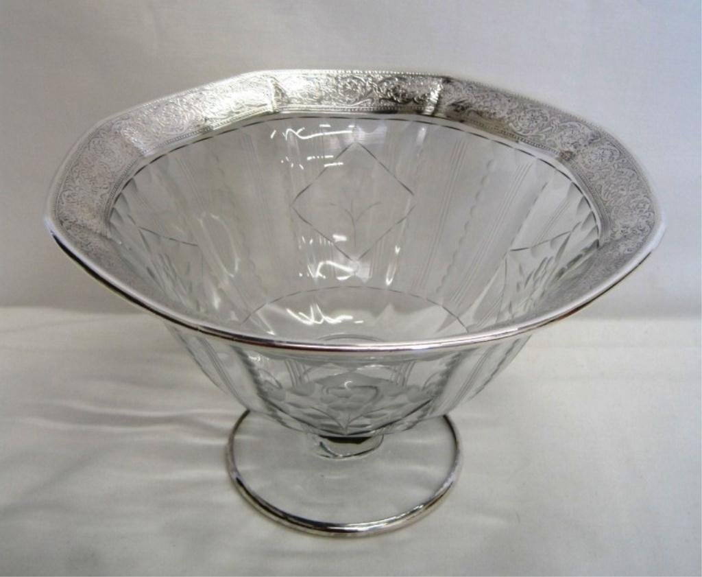 ANTIQUE STERLING SILVER OVERLAY ETCHED COMPOTE BOWL