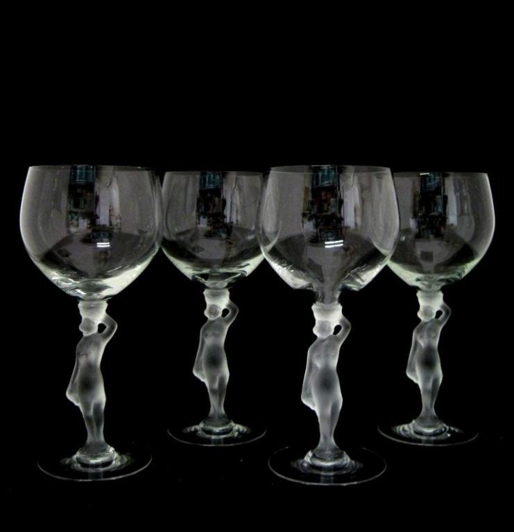 (4) FRENCH BAYEL BACCHANTE NUDE FROSTED  WINE GLASSES