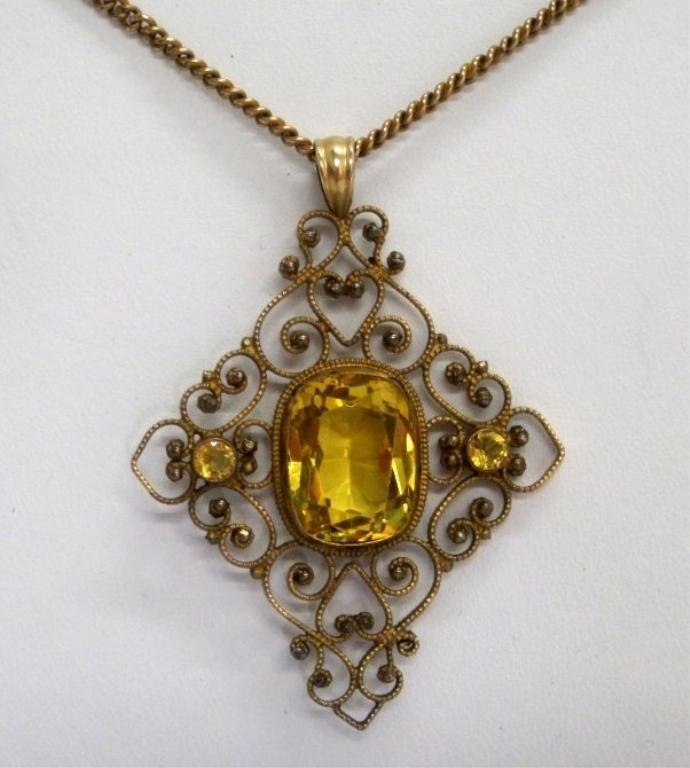 VICTORIAN CITRINE GOLD FILLED FILIGREE NECKLACE