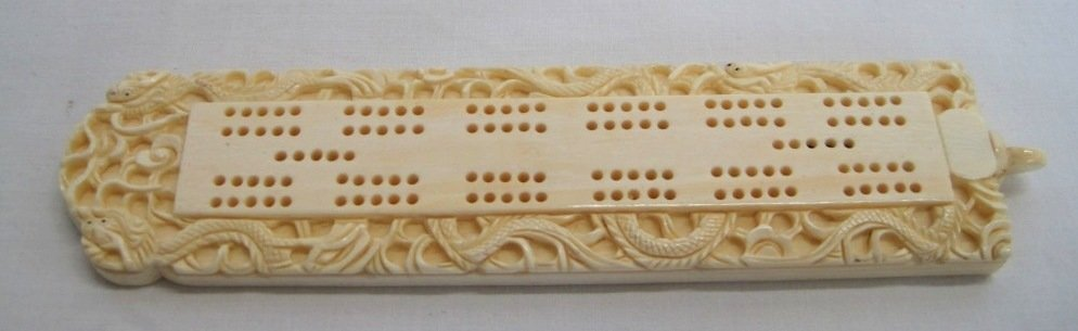 IVORY INLAID DRAGON CRIBBAGE BOARD