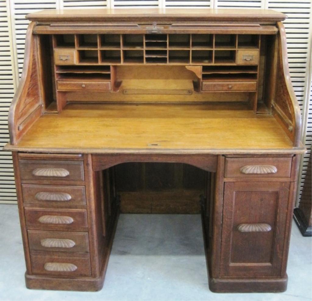 19th century e h stafford desk co oak rolltop desk - Rolltop Desk